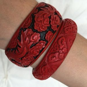 Vintage Carved Cinnabar Chinese Bangles - Set of 2